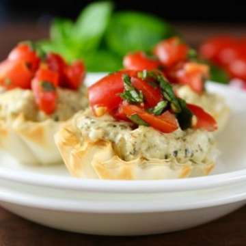 Mini Tomato Pesto Tarts Recipe from MissintheKitchen #ad #BBQBites