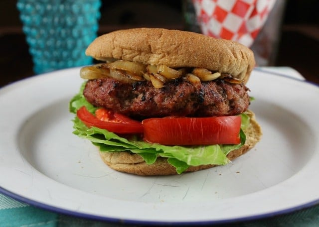 Grilled Burgers with Caramelized Onions ~ TCHS Cookbook ~ MissintheKitchen.com