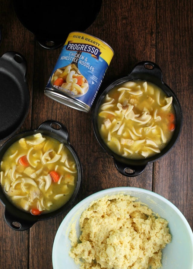 Cheesy Cornbread Chicken Noodle Pot Pie with Progresso Soup ~ MissintheKitchen.com #ad