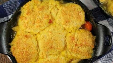 Cheesy Cornbread Chicken Noodle Pot Pie