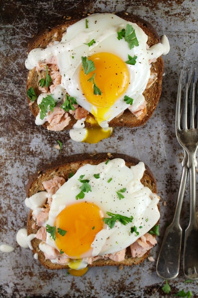 Salmon and Sunny-Side-Up Egg Toast Recipe from MissintheKitchen With Pepperidge Farm Harvest Blends #ad