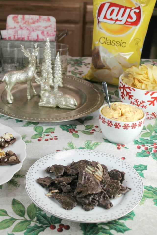 Lay's Wavy Potato Chips Dipped in Dark Chocolate for the Frito Lay White Elephant Charity Exchange Party ~ MissintheKitchen.com #ad