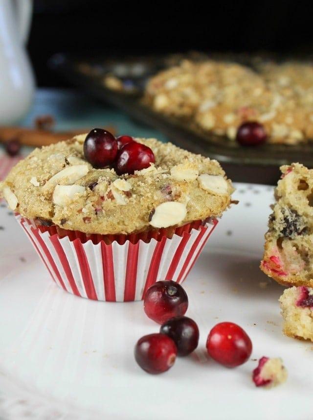 Cranberry Almond Muffins Recipe from MissintheKitchen.com
