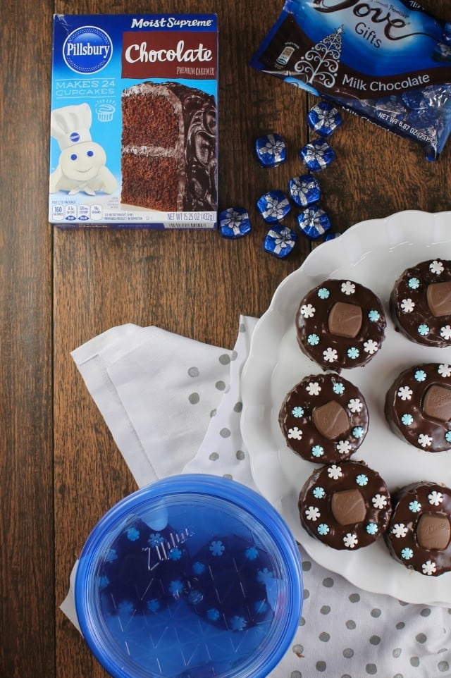 Triple Chocolate Snack Cakes are a super cute treat to bake and share for the holidays! From MissintheKitchen.com with Ziploc #ad