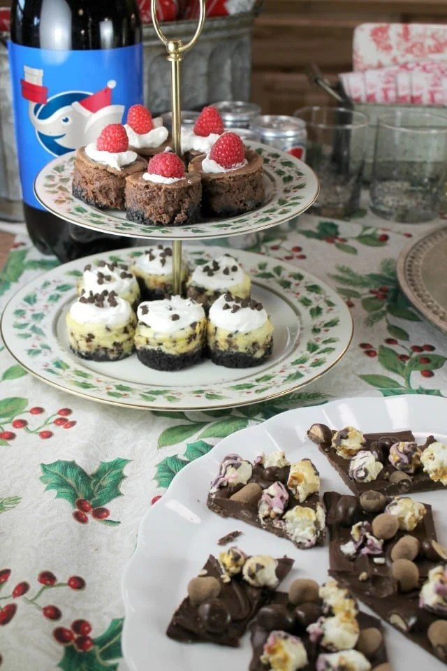Cheesecake Desserts Plate for White Elephant Charity Exchange Party from MissintheKitchen.com #ad