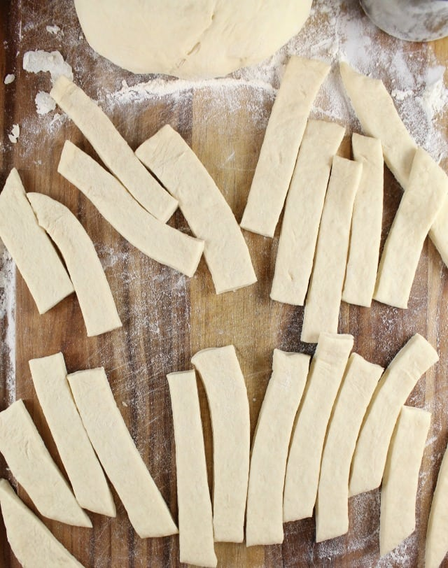 Strips of Dough for Quick Rosemary Garlic Knots ~ MissintheKitchen.com