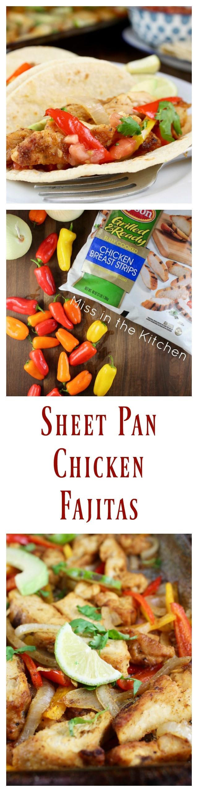 Easy Sheet Pan Chicken Fajitas Recipe with Tyson #GrilledandReady Chicken Strips for an easy weeknight dinner! From MissintheKitchen.com #ad