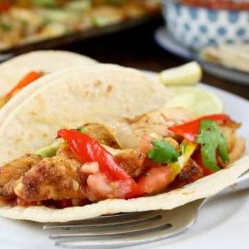 Sheet Pan Chicken Fajitas ~ Miss in the Kitchen