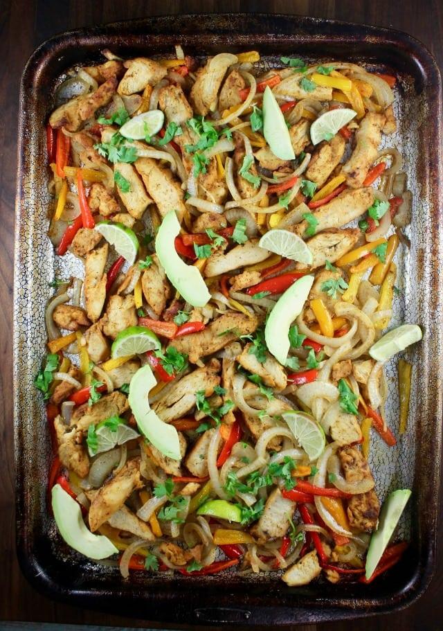Sheet Pan Chicken Fajitas Recipe from MissintheKitchen.com #GrilledandReady