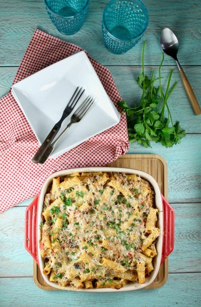 Cheesy Beef Rigatoni Recipe from MissintheKitchen.com