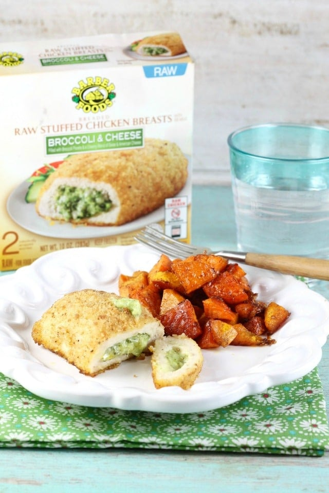 Barber Foods Stuffed Chicken Sweet Potato Sheet Pan Meal from Miss in the Kitchen #ad