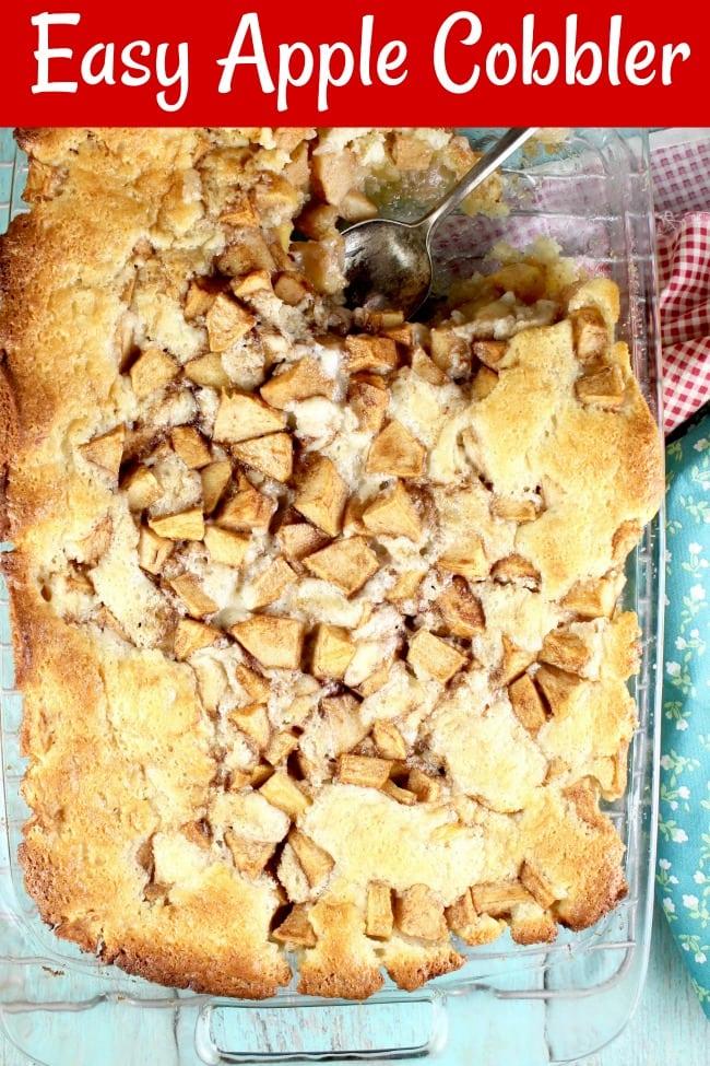Apple Cobbler in a glass baking dish