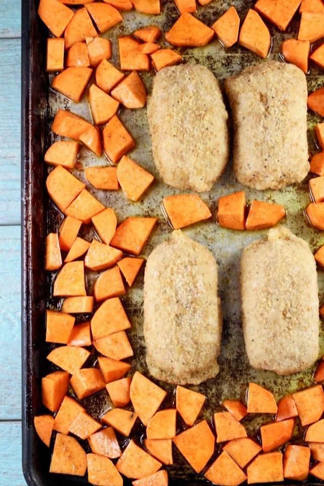 Sheet Pan Meal ~ Stuffed Chicken Sweet Potatoes ~ MissintheKitchen #ad