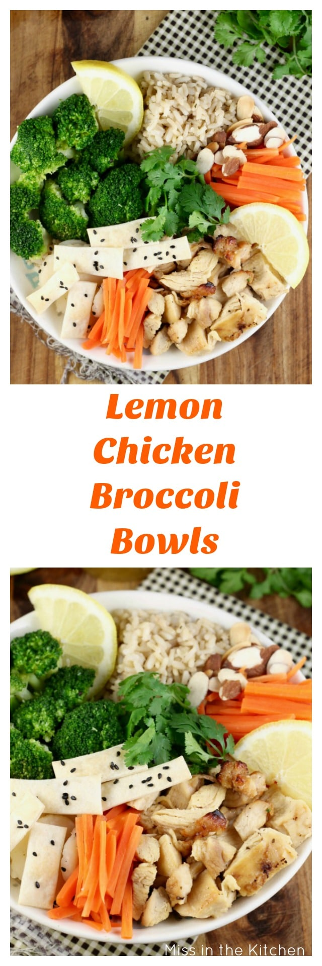 Quick Lemon Chicken Broccoli Bowls for an easy weeknight dinner that the whole family will enjoy! Sponsored by Tyson & Wish-Bone from MissintheKitchen.com