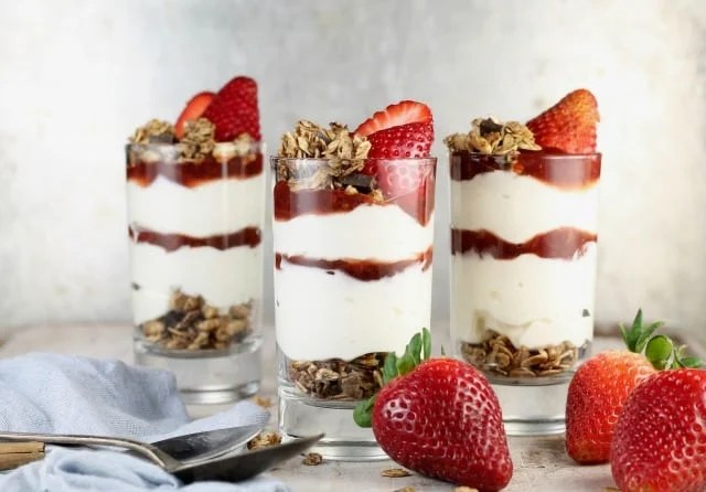 Recipe for Strawberry Cheesecake Parfaits ~ MissintheKitchen.com