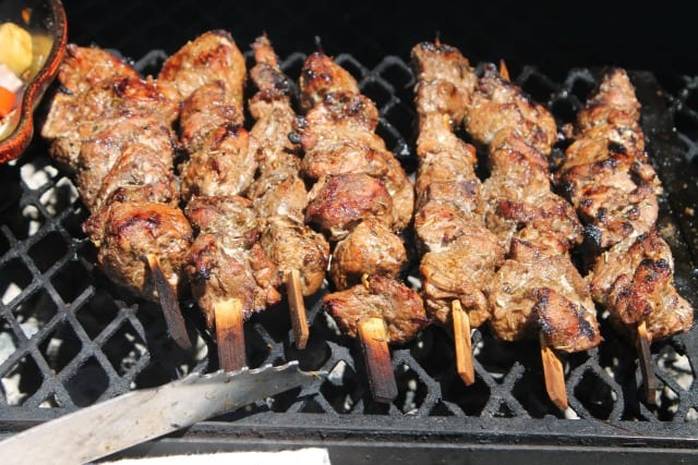 Balsamic Pork Skewers grilled to perfection ~ MissintheKitchen.com