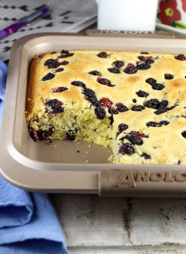 Blackberry Cornbread Recipe ~ A twist on classic cornbread that is perfect with your morning coffee. From MissintheKitchen.com