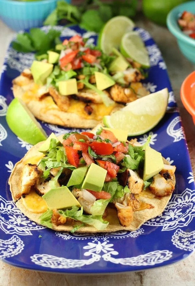 Grilled Chicken Tostadas Recipe from MissintheKitchen.com