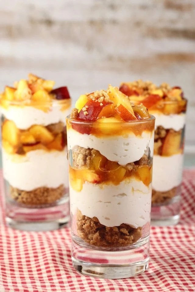 No Bake Peaches and Cream Cheesecake Recipe from MissintheKitchen.com #SummerDessertWeek