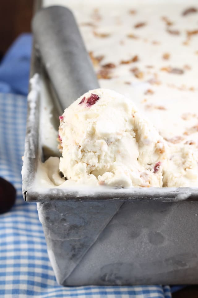 No Churn Cherry Crisp Ice Cream Recipe ~ MissintheKitchen.com #SummerDessertWeek