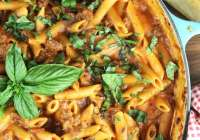 One Pot Sausage Penne Pasta Recipe from MissintheKitchen.com Sponsored by Barilla
