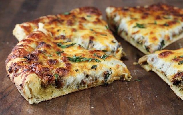 Sausage Mushroom Pesto Pizza Recipe } MissintheKitchen.com
