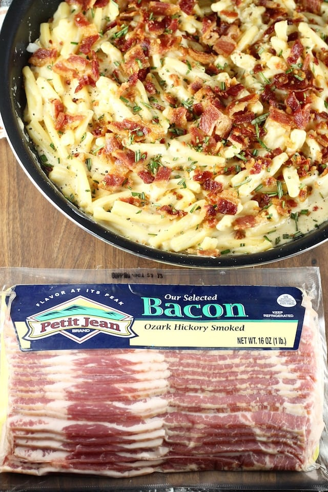 Petit Jean Meats Hickory Smoked Bacon ~ Bacon White Cheddar Pasta Recipe from MissintheKitchen.com