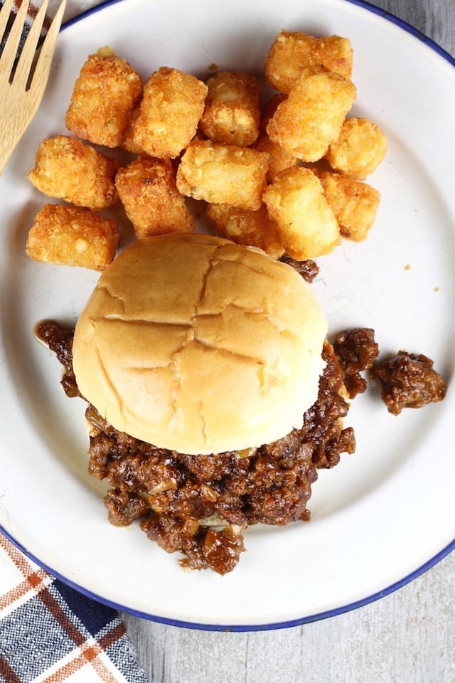 Quick and Easy ~ Dr. Pepper Barbecue Sloppy Joes Recipe from MissintheKitchen.com #Tailgating #GameDay #AD @DrPepper