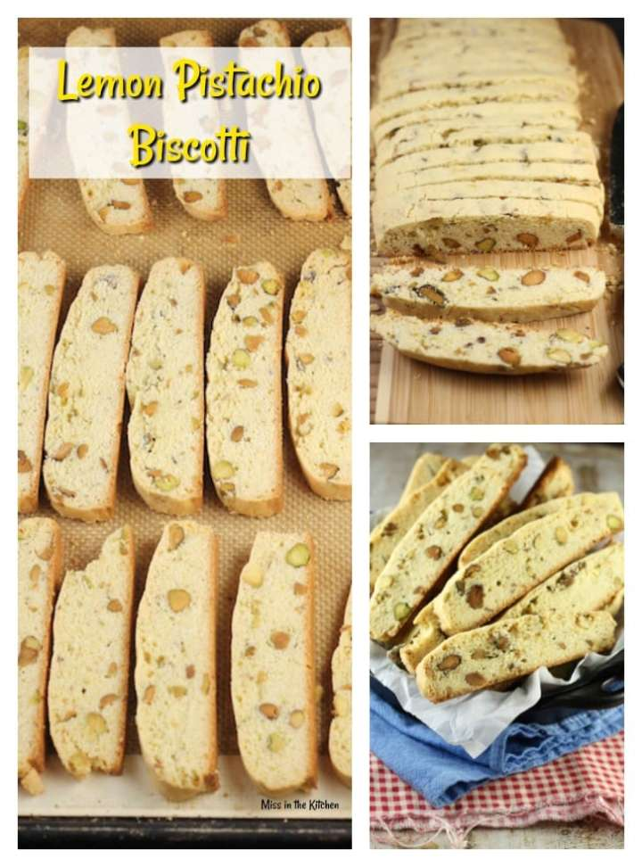 Lemon Pistachio Biscotti Recipe ~ perfect to bake and share from MissintheKitchen.com #cookies #holiday