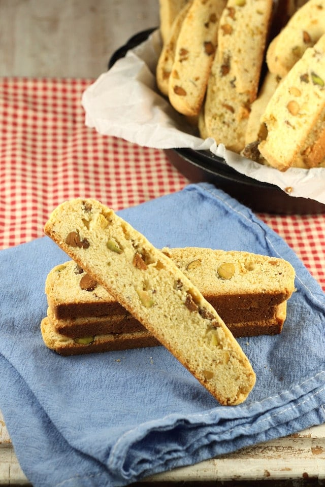 Lemon Pistachio Biscotti Recipe from MissintheKitchen.com #cookies #holiday