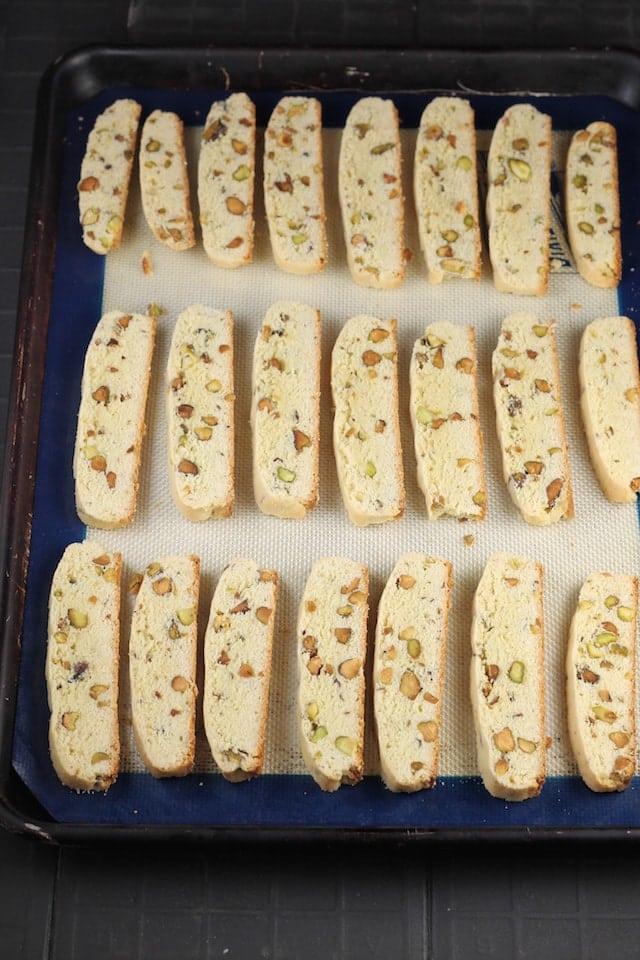Sliced Lemon Pistachio Biscotti Recipe ~ MissintheKitchen.com