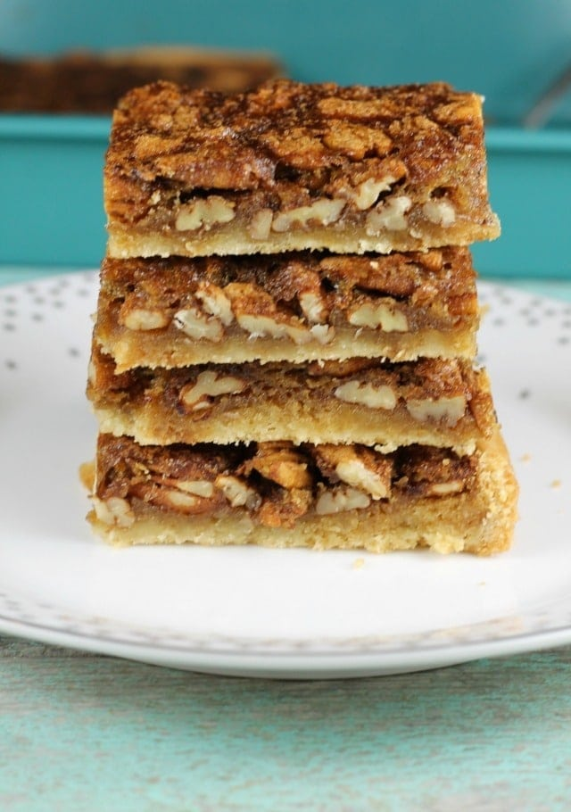 Brown Sugar Pecan Pie Bars are a delicious dessert for any holiday or family celebration to feed a crowd. Recipe found at MissintheKitchen.com #holiday #christmas #AD @Walmart @Pillsbury #piebars #pecans