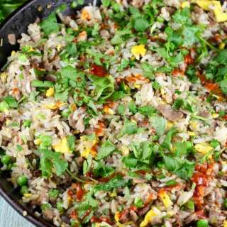 Christmas Brisket Fried Rice Recipe ~ MissintheKitchen.com From Gale Simmon's Bringing it Home
