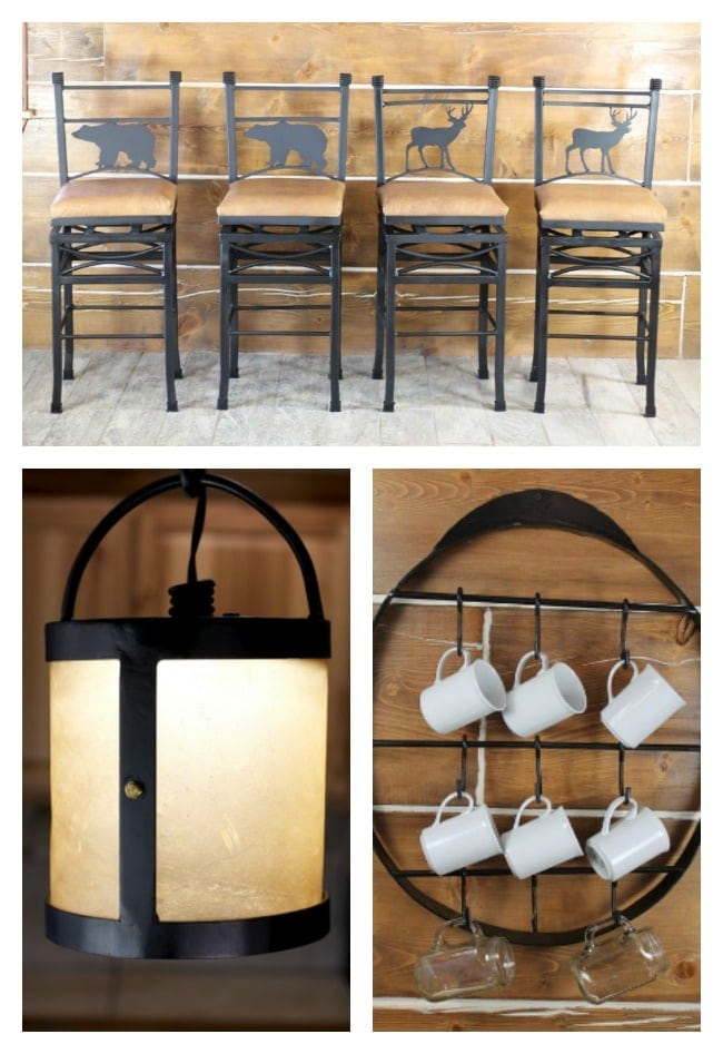 Kitchen Bar Stools, Lantern Hanging Lamp and Farmhouse Cup Rack from RedRiverIron.com
