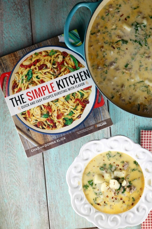 The Simple Kitchen Cookbook ~ Tuscan Sausage Potato Soup Recipe ~ MissintheKitchen.com #recipe #soup #tuscan