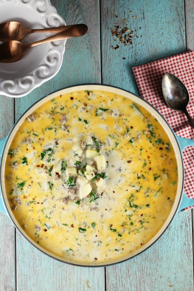 Tuscan Sausage Potato Soup Recipe from The Slow Roasted Italian's The Simple Kitchen ~ MissintheKitchen.com #soup #recipe