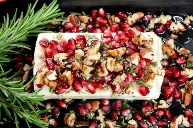 Pomegranate Pecan Party Appetizer Recipe ~ simple 5 ingredients and 5 minutes of prep for an impressive holiday appetizer! MissintheKitchen.com #holiday #appetizer #pomegranate #pecan #creamcheese #honey
