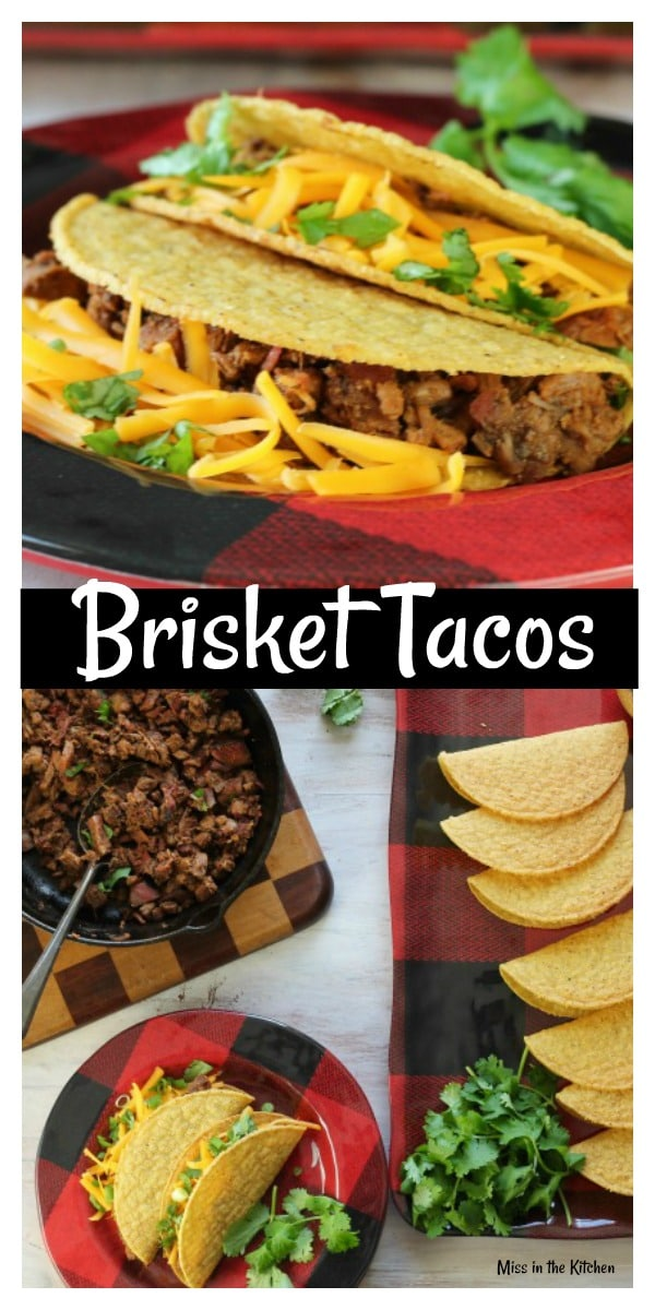 Brisket Tacos Recipe ~ Easy meal for entertaining and feeding a crowd from MissintheKitchen.com #recipe #beef #brisket #tacos