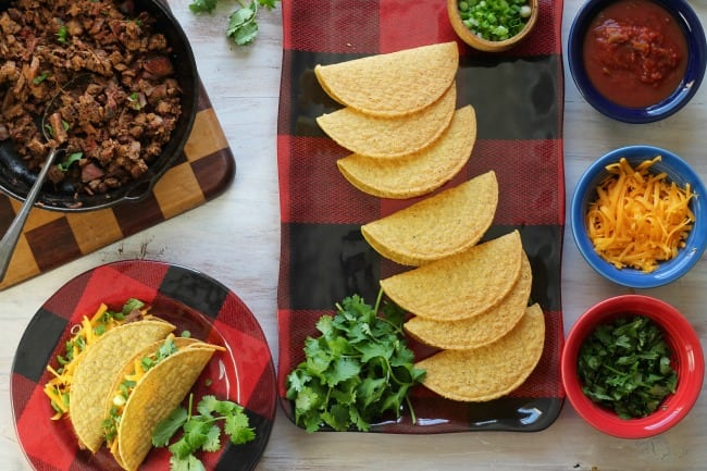 Easy Brisket Tacos are perfect to feed a crowd ~ Recipe from MissintheKitchen.com