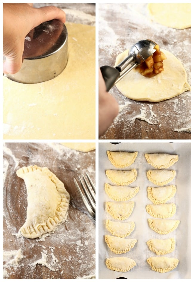 Collage of photos cutting pie dough into circles, filling with apple pie filling, folded over dough to create half moon shape, pies ready for frying