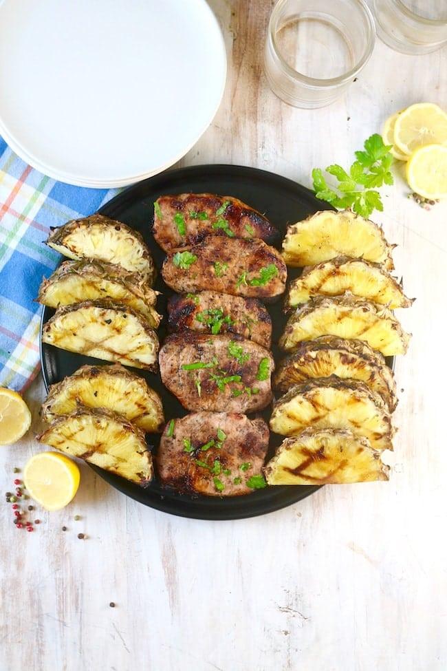 Easy Citrus Grilled Pork Chops & Pineapple
