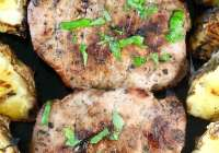 Citrus Grilled Pork Chops with grilled pineapple