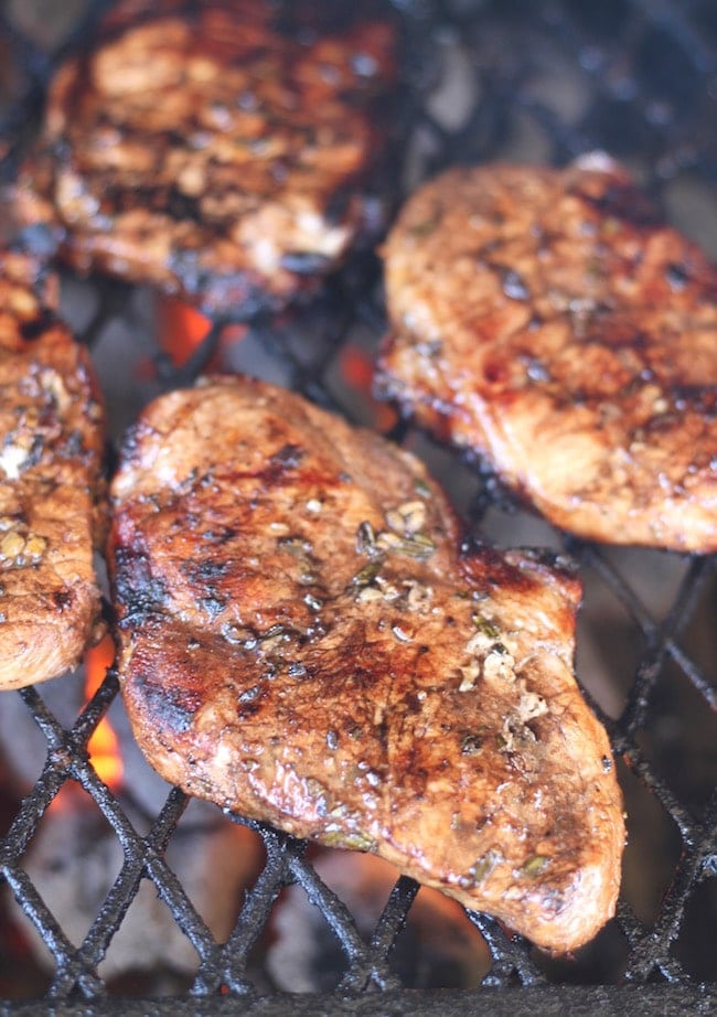 Balsamic Pork Chops on the grill