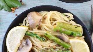 Lemon Parsley Angel Hair with Asparagus and Mushrooms