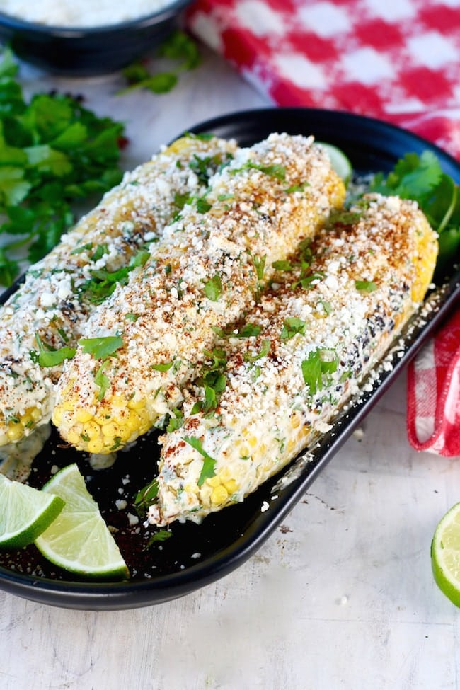 Grilled Mexican Street Corn Recipe with lime and cilantro
