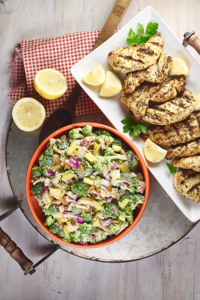 Broccoli Pineapple Salad + Cooked Perfect Lemon Herb Chicken