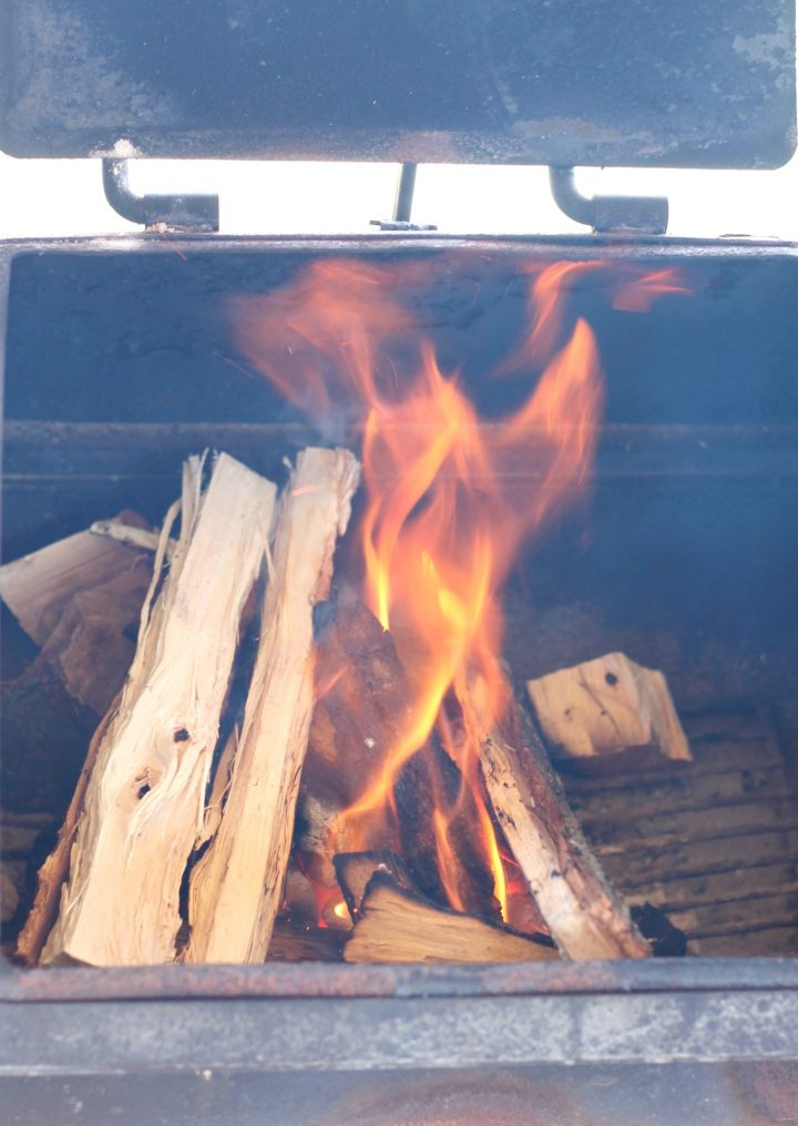 hickory wood fire for smoking spare ribs
