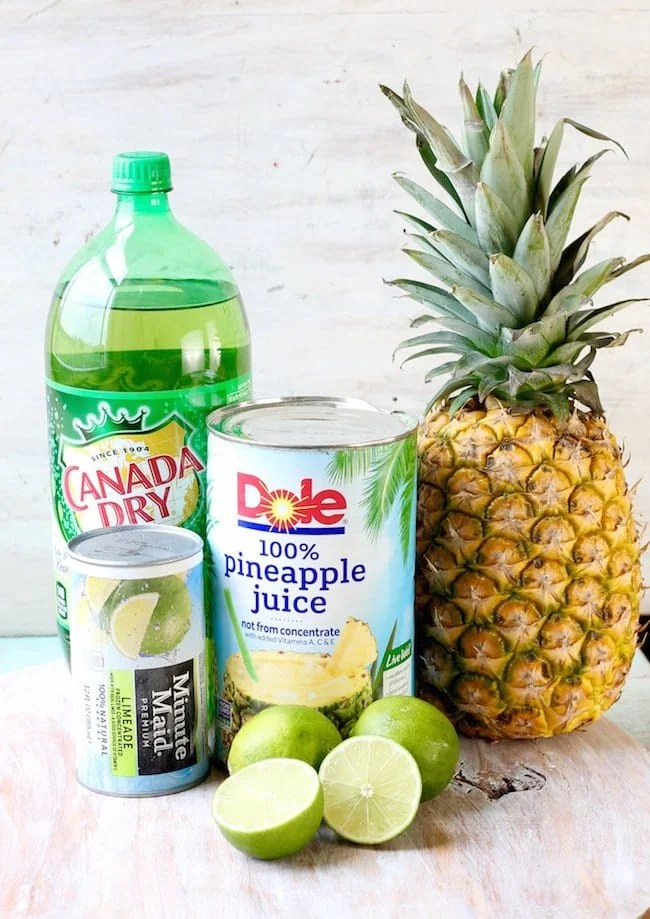 Ingredients for Pineapple Limeade Slush