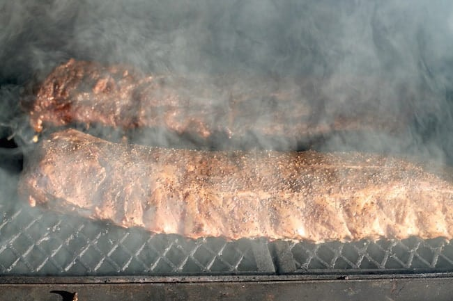 Smoking ribs on the grill