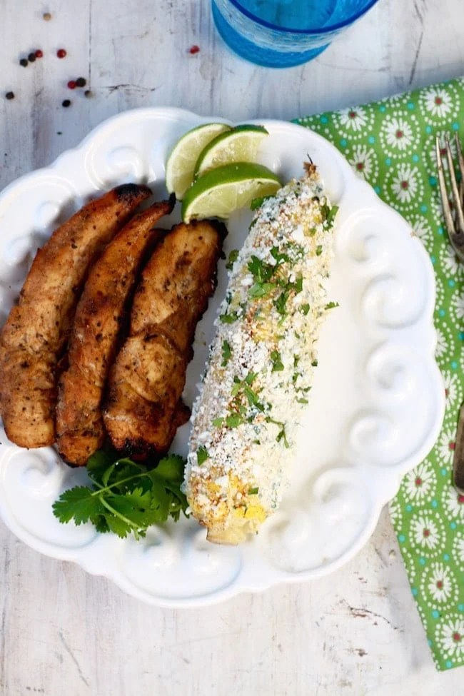 honey chicken and grilled mexican street corn